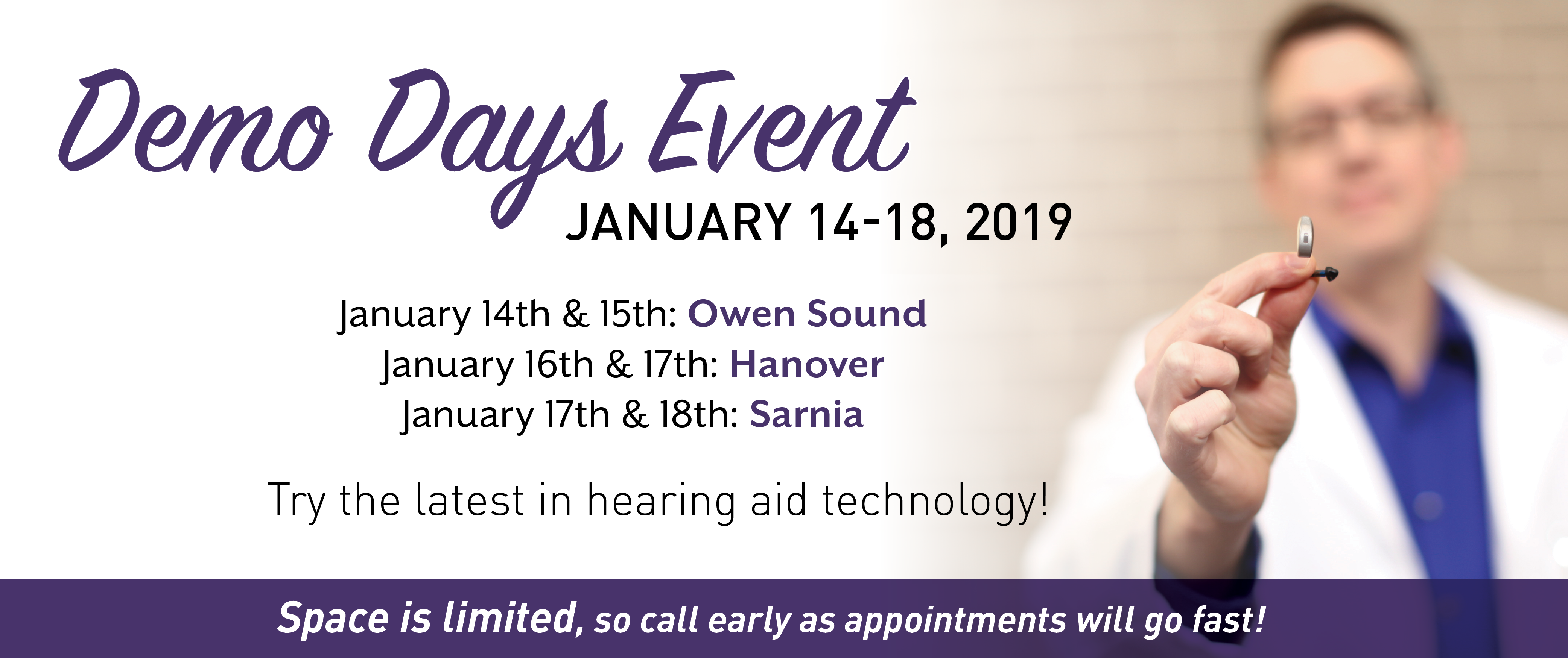 Demo Days event January 14-18, 2019 try the latest in hearing aid technology